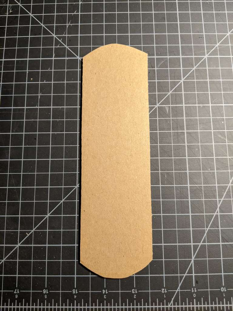 The final cardboard blank; roughly 2.5