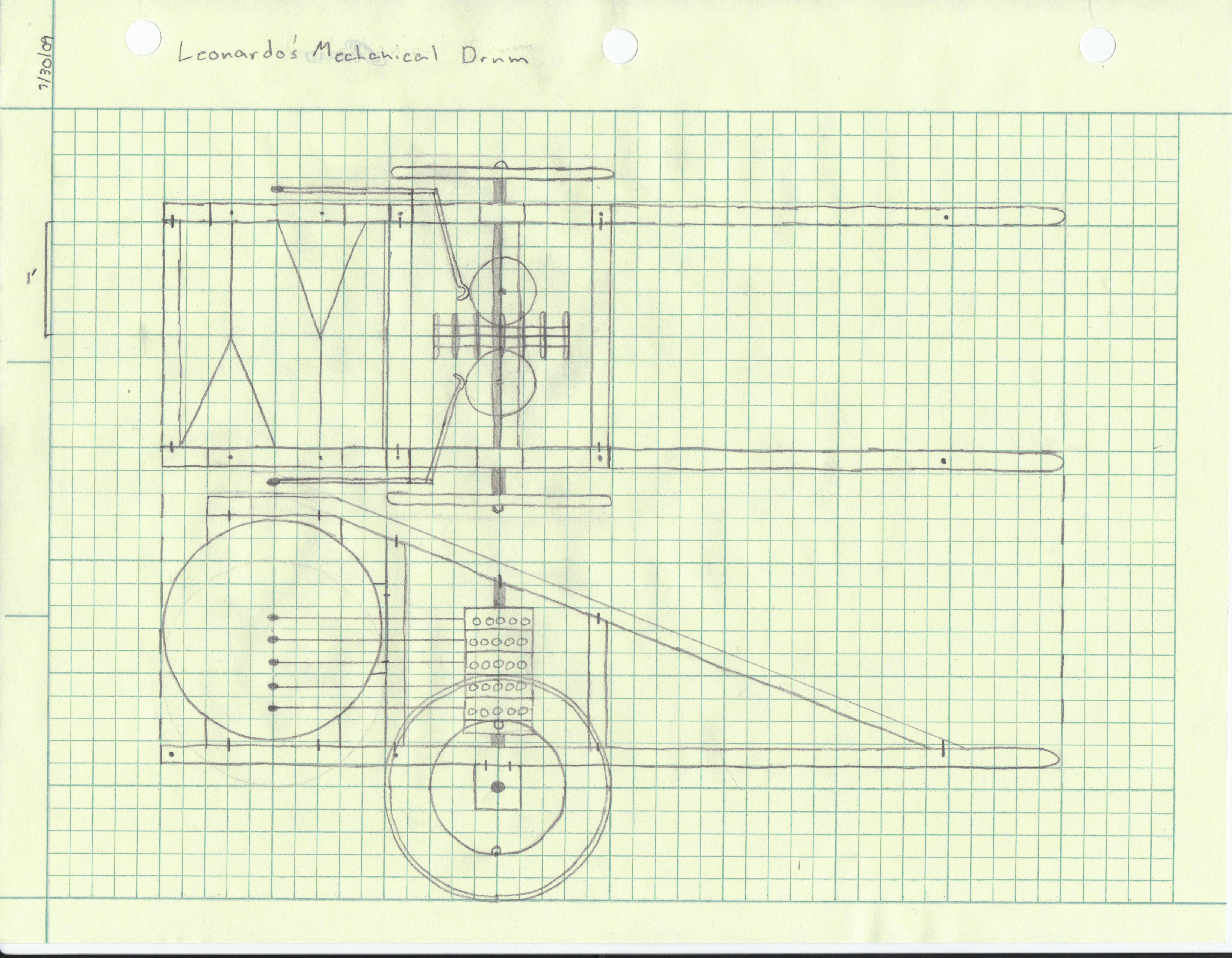 Initial blueprint for the mechanical drum.