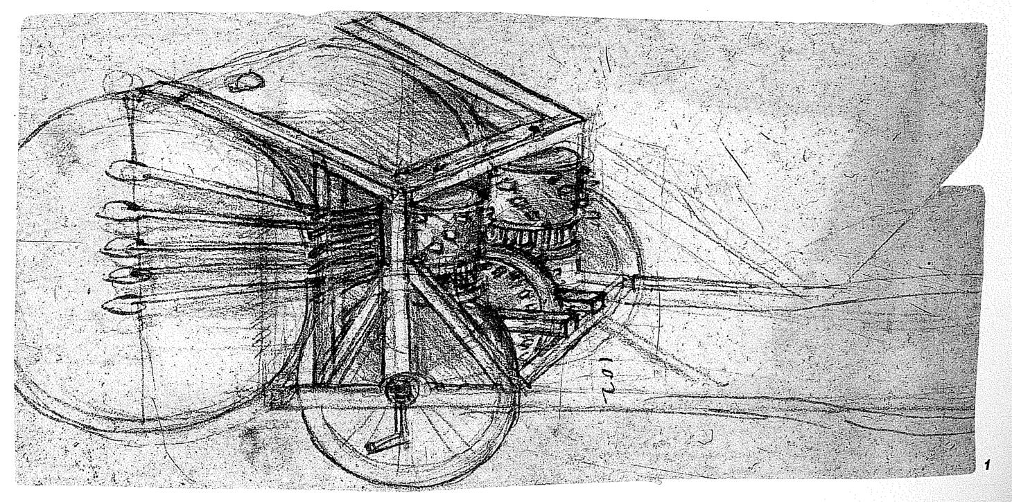 Leonardo da Vinci's sketch of a mechanical drum
