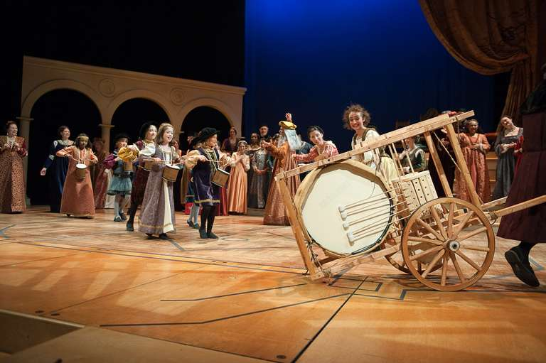 Mechanical drum on stage with Washington Revels